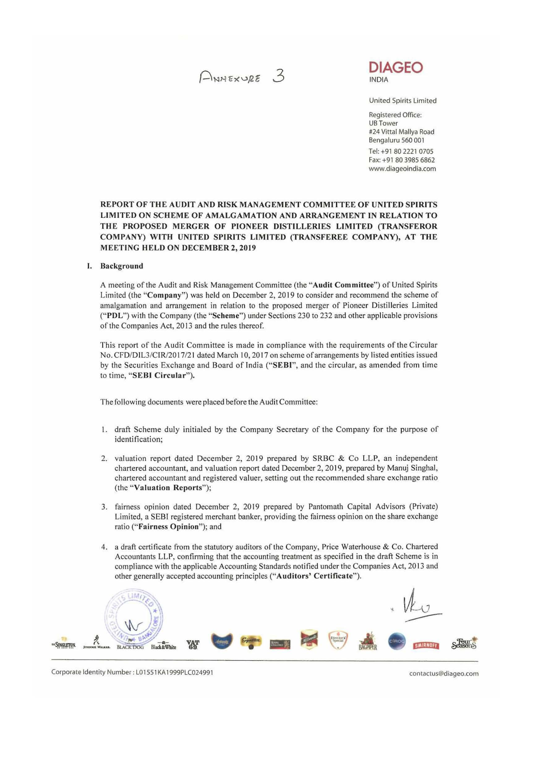 Report of Audit & Risk Management Committee of the Company