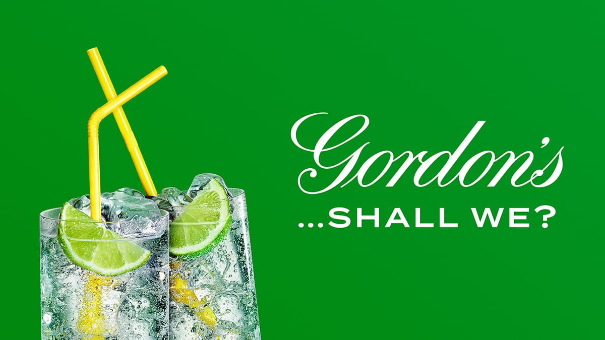 Gordon's Ad with two glasses of gin and tonic