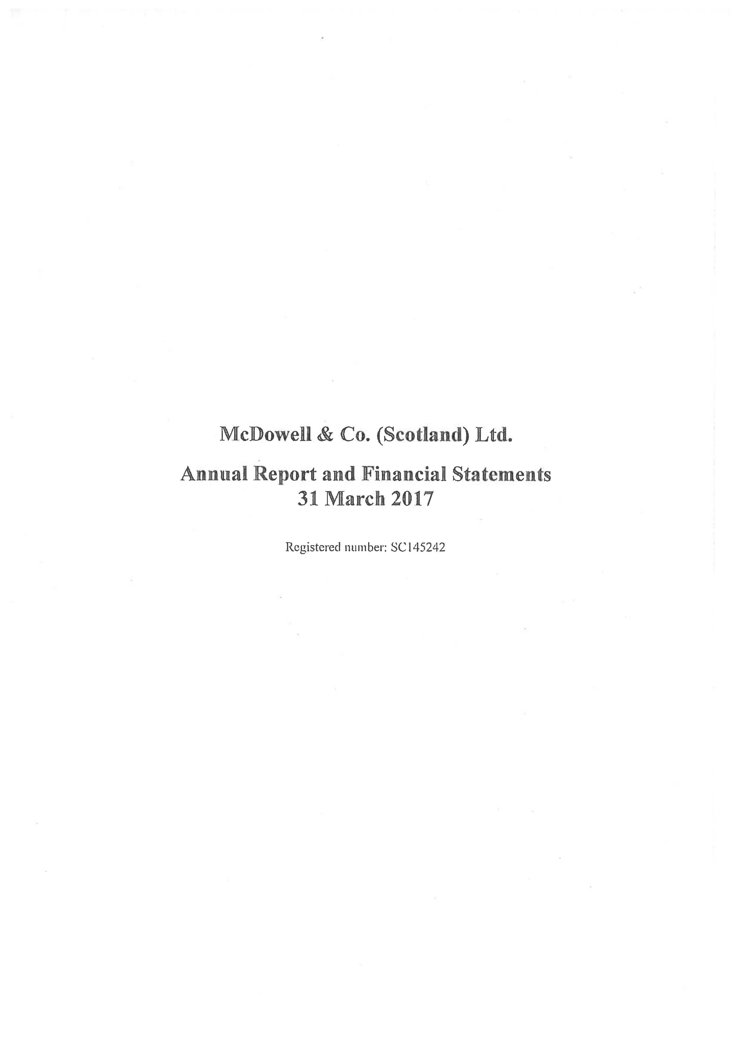 McDowell & Co (Scotland) Ltd Annual Report 2016-2017