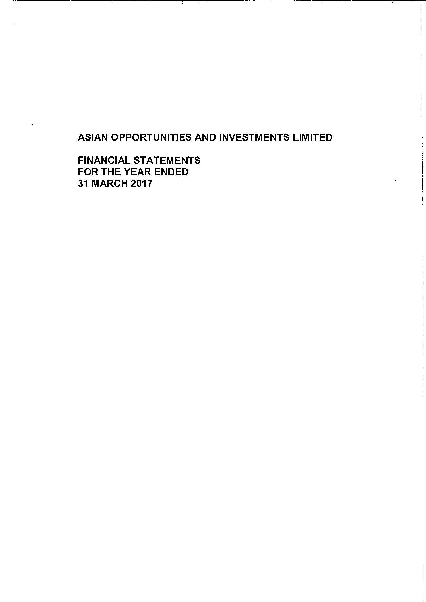Asian Opportunities and Investments Ltd 2016-2017