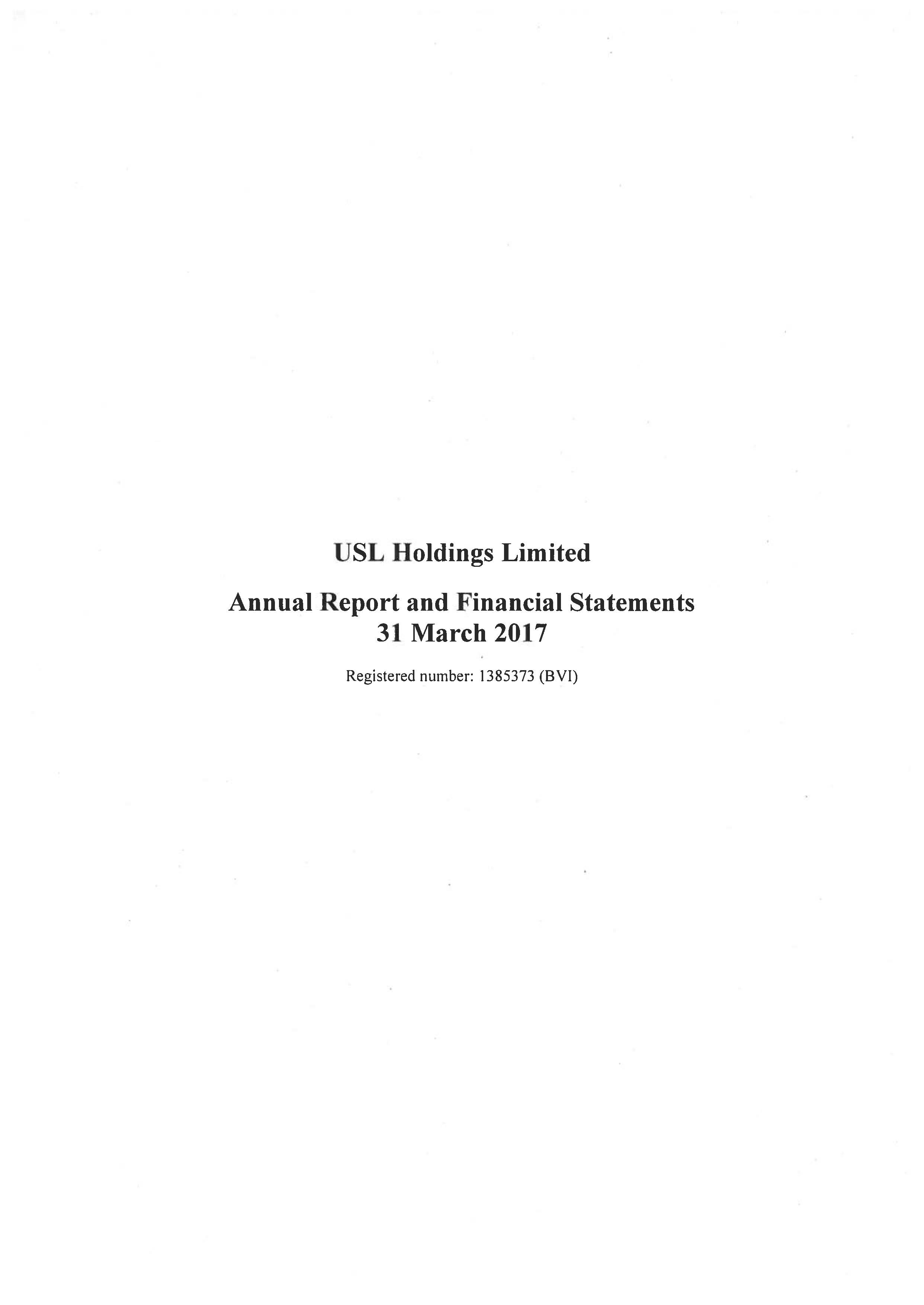 USL Holdings Ltd 2016-2017