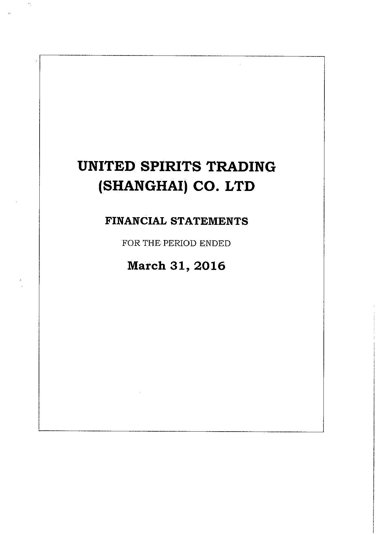 UNITED SPIRITS TRADING (SHANGHAI) CO. LTD Result 2015-2016