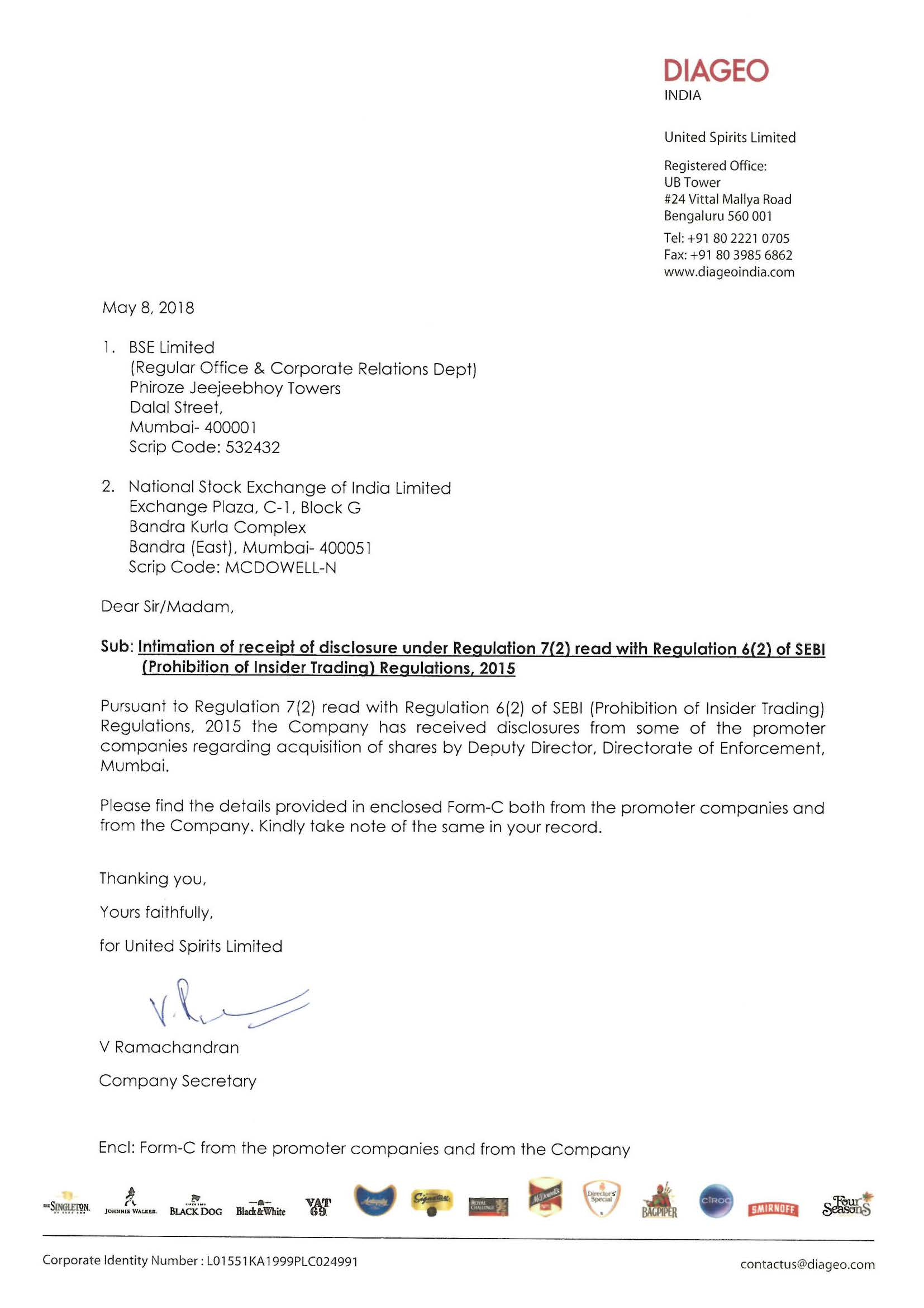 Disclosure regarding acquisition of shares by Directorate of Enforcement