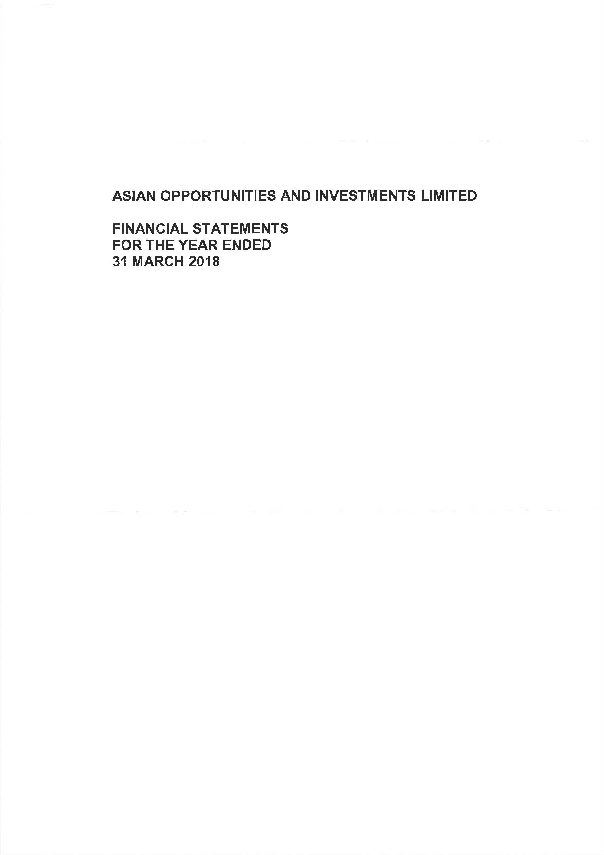 Asian Opportunities and Investments Ltd 2017-2018