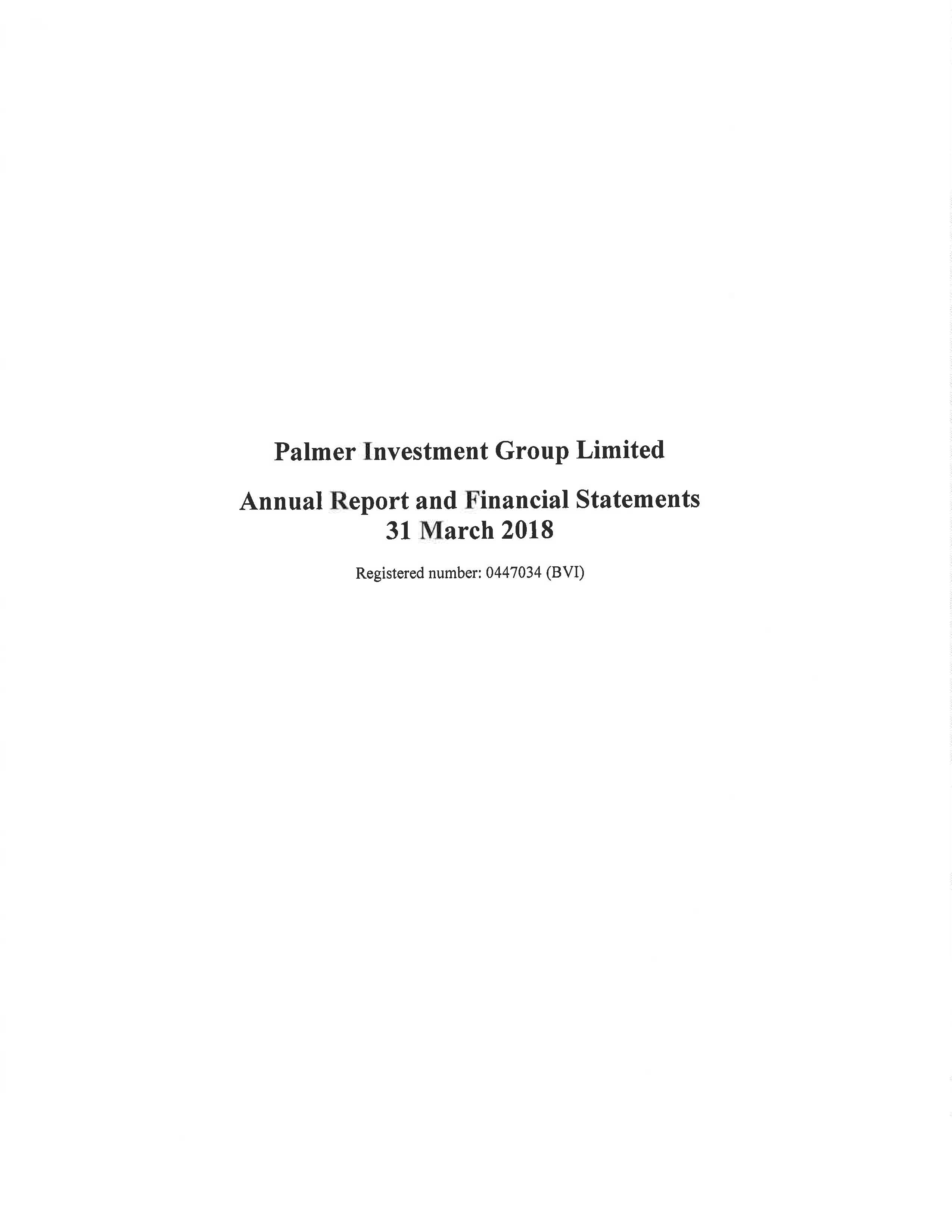 Palmer Investment Group Limited 2017-2018