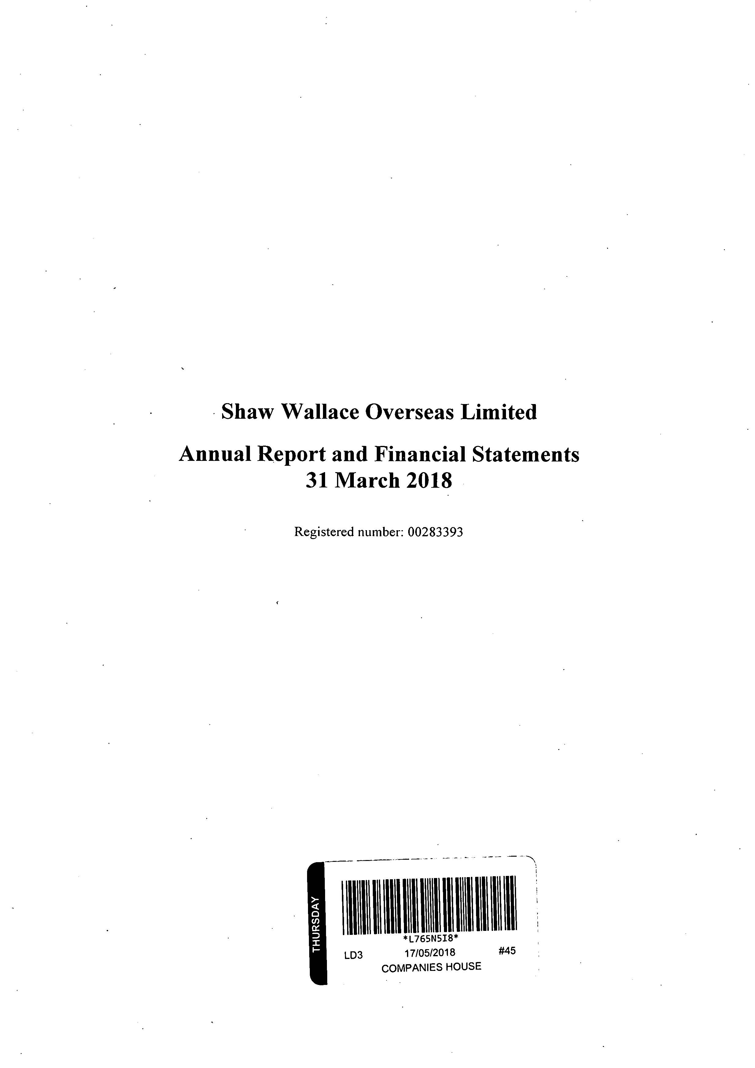 Shaw Wallace Overseas Ltd 2017-2018