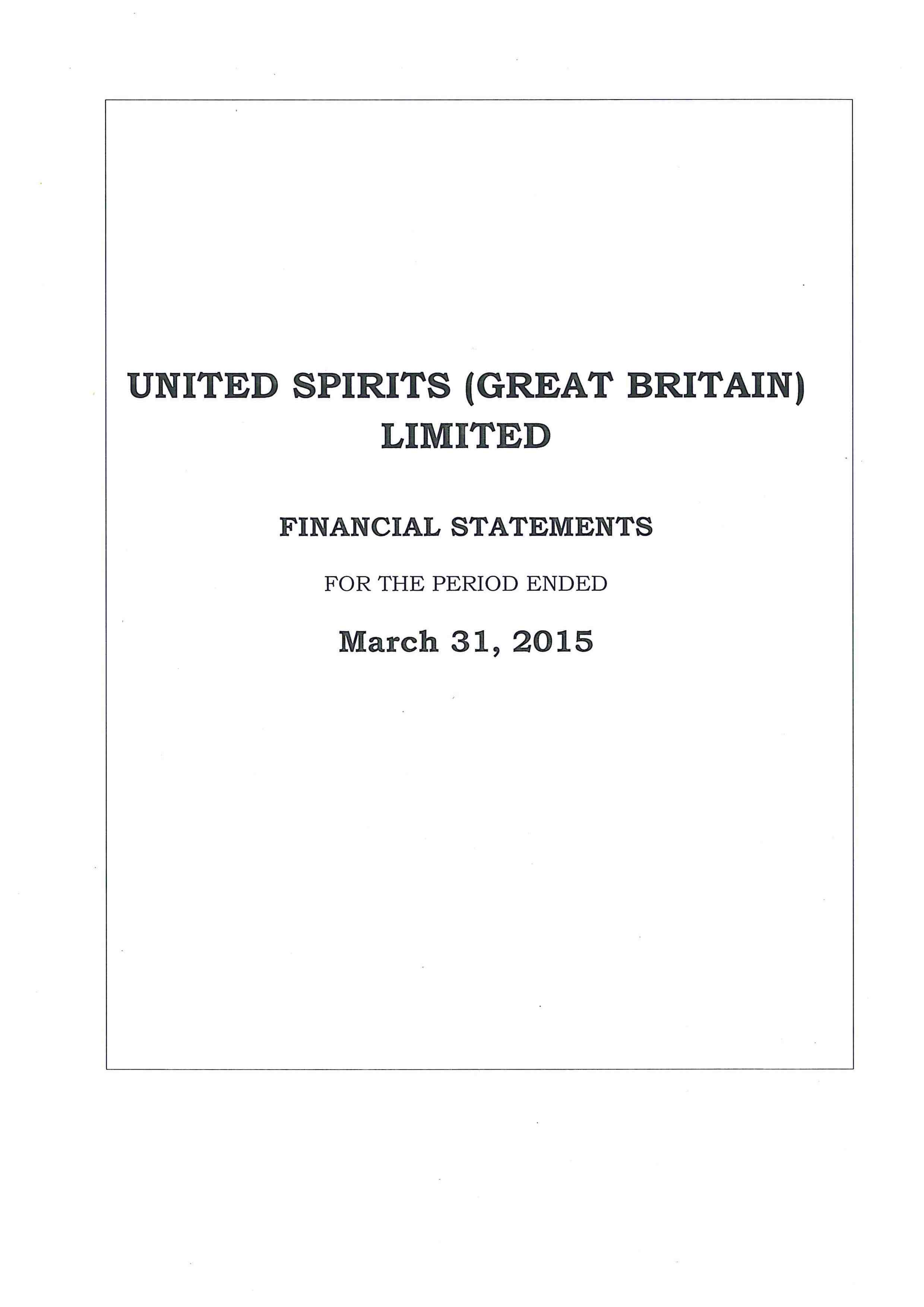 United Spirits (Great Britain) Ltd 2014-2015