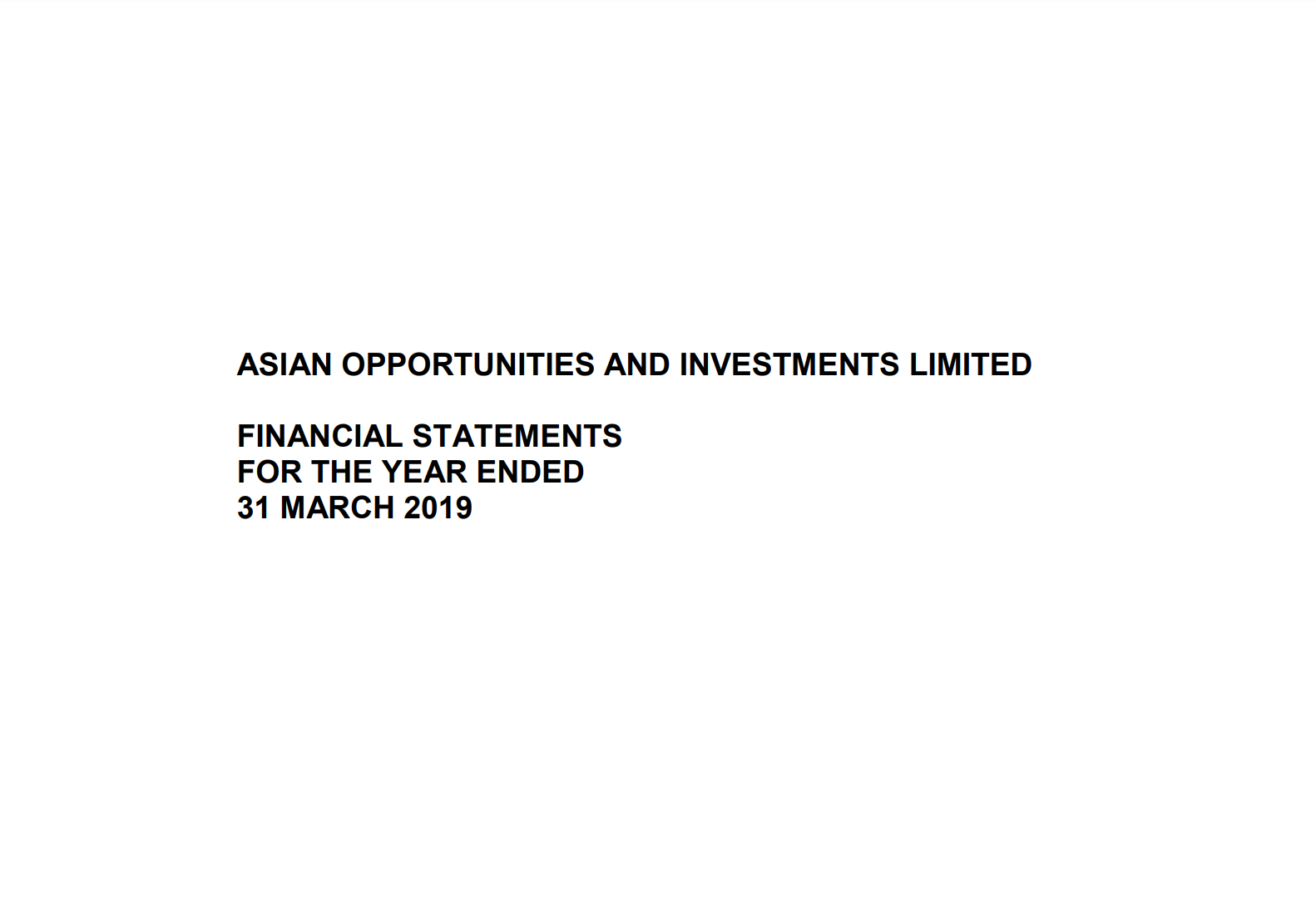 Asian Opportunities & Investments Limited